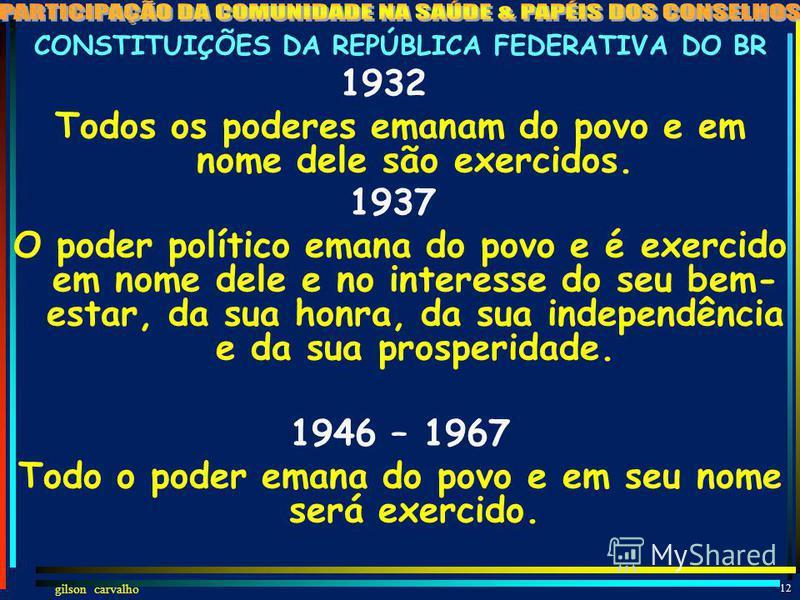 gilson carvalho 11 A BASE LEGAL DA PARTICIPAÇÃO DA COMUNIDADE NA SAÚDE E OS PAPÉIS DO CONSELHO DE SAÚDE