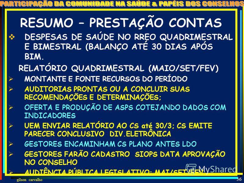 gilson carvalho 35 RESUMO – VISIBILIDADE DA GESTÃO DIVULGAÇÃO – INCLUSIVE ELETRÔNICA DA PC QUADRIMESTRAL INCLUI: DEMONSTRATIVO DE CUMPRIMENTO DA 141; REL.GESTÃO; AVALIAÇÃO CS AUDIÊNCIA PÚBLICA NA ELABORAÇÃO DO PLANO