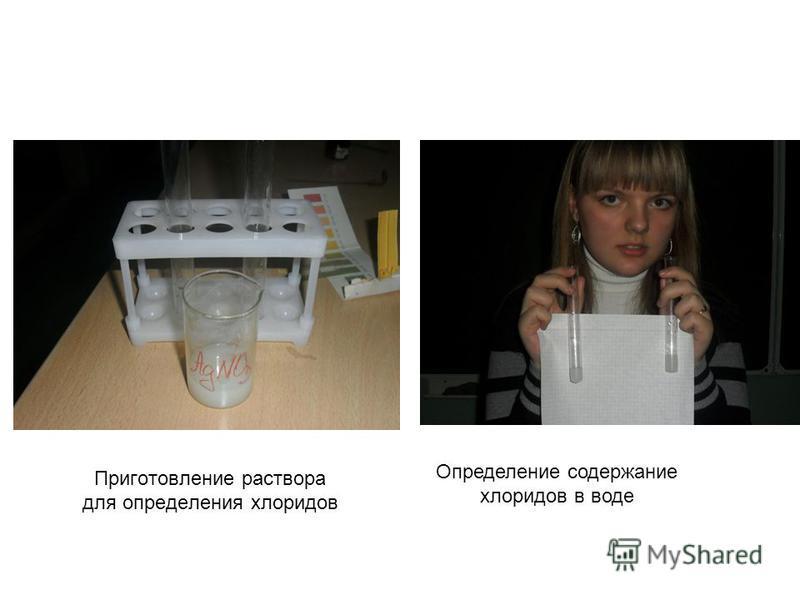 Приготовление раствора для определения хлоридов Определение содержание хлоридов в воде