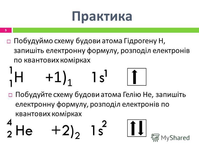 Практика Побудуймо схему будови атома Гідрогену Н, запишіть електронну формулу, розподіл електронів по квантових комірках Н +1) 1 1s Побудуйте схему будови атома Гелію Не, запишіть електронну формулу, розподіл електронів по квантових комірках He +2)