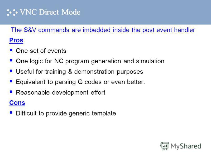 VNC Direct Mode The S&V commands are imbedded inside the post event handler Pros One set of events One logic for NC program generation and simulation Useful for training & demonstration purposes Equivalent to parsing G codes or even better. Reasonabl