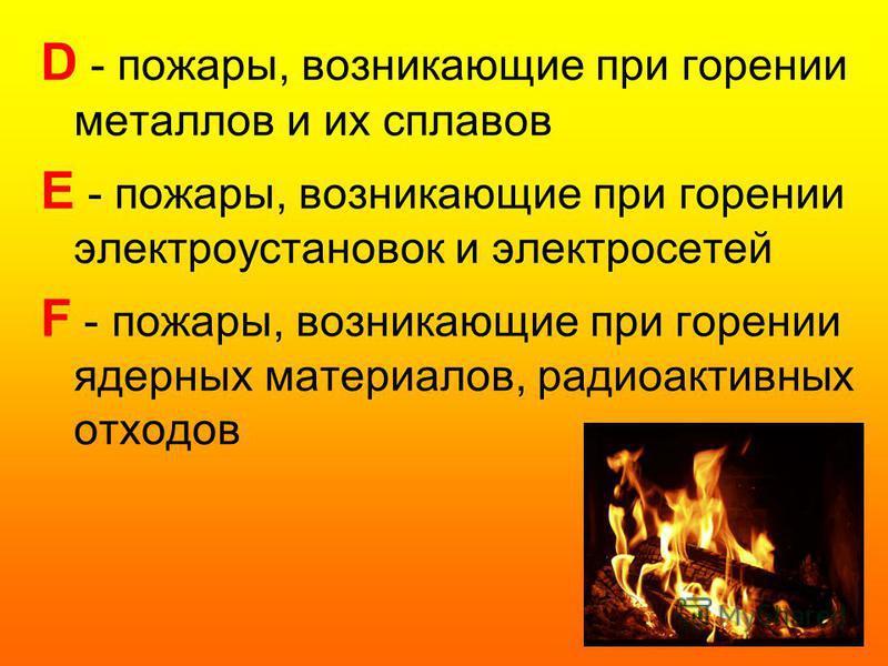 D - пожары, возникающие при горении металлов и их сплавов E - пожары, возникающие при горении электроустановок и электросетей F - пожары, возникающие при горении ядерных материалов, радиоактивных отходов