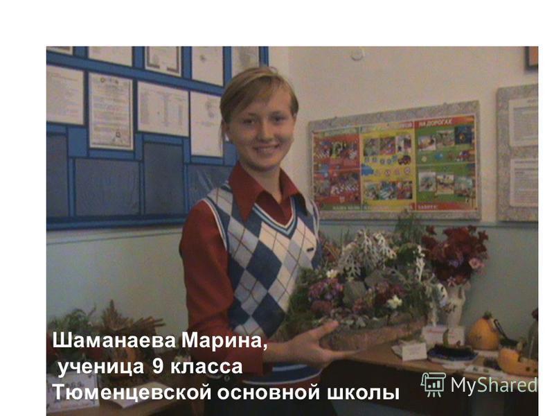 Шаманаева Марина, ученица 9 класса Тюменцевской основной школы