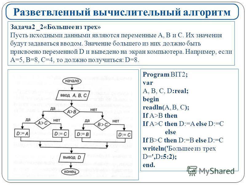 Разветвленный вычислительный алгоритм Задача 2 _2«Большее из трех» Пусть исходными данными являются переменные A, B и С. Их значения будут задаваться вводом. Значение большего из них должно быть присвоено переменной D и выведено на экран компьютера.