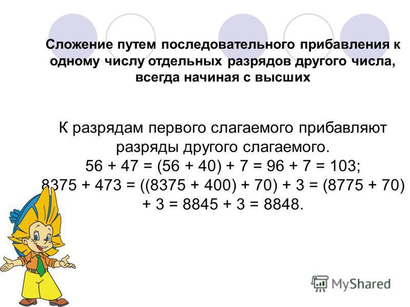 Сложение путем последовательного прибавления к одному числу отдельных разрядов другого числа, всегда начиная с высших К разрядам первого слагаемого прибавляют разряды другого слагаемого. 56 + 47 = (56 + 40) + 7 = 96 + 7 = 103; 8375 + 473 = ((8375 + 4