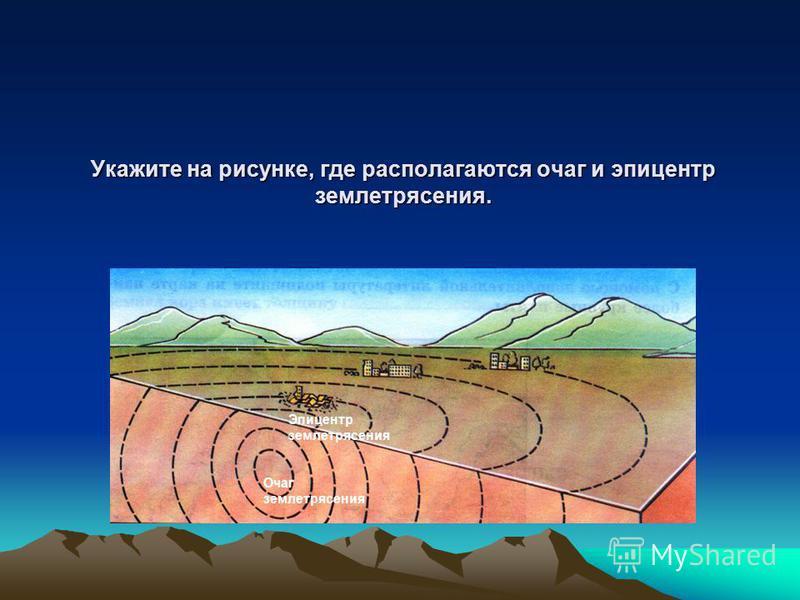 Укажите на рисунке, где располагаются очаг и эпицентр землетрясения. Очаг землетрясения Эпицентр землетрясения