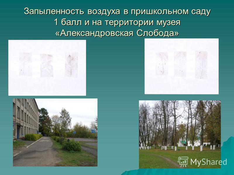 Запыленность воздуха в пришкольном саду 1 балл и на территории музея «Александровская Слобода»