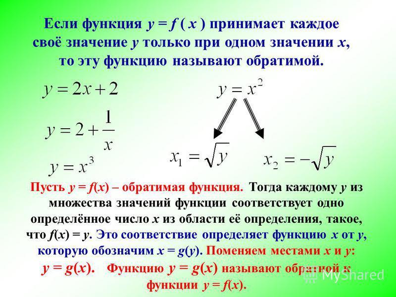 Если функция у = f ( х ) принимает каждое своё значение у только при одном значении х,х, то эту функцию называют обратимой. Пусть у = f(x) – обратимая функция. Тогда каждому у из множества значений функции соответствует одно определённое число х из о