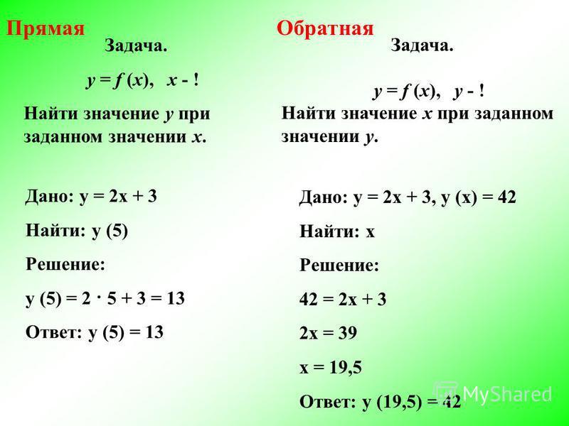 Задача. у = f (x), x - ! Найти значение у при заданном значении х. Задача. у = f (x), у - ! Найти значение х при заданном значении у. Дано: у = 2 х + 3 Найти: у (5) Решение: у (5) = 2 · 5 + 3 = 13 Ответ: у (5) = 13 Дано: у = 2 х + 3, у (х) = 42 Найти