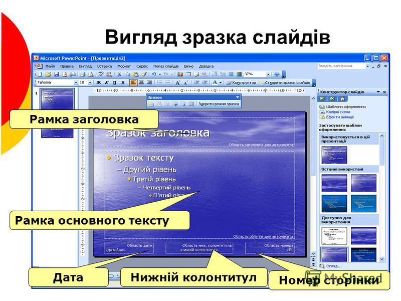 Вигляд зразка слайдів Рамка заголовка Рамка основного тексту Дата Нижній колонтитул Номер сторінки