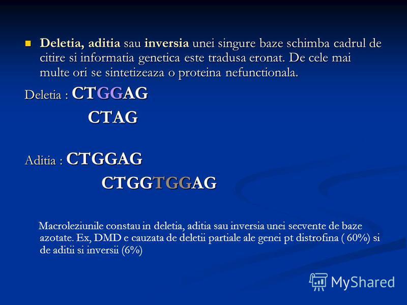 Deletia, aditia sau inversia unei singure baze schimba cadrul de citire si informatia genetica este tradusa eronat. De cele mai multe ori se sintetizeaza o proteina nefunctionala. Deletia, aditia sau inversia unei singure baze schimba cadrul de citir