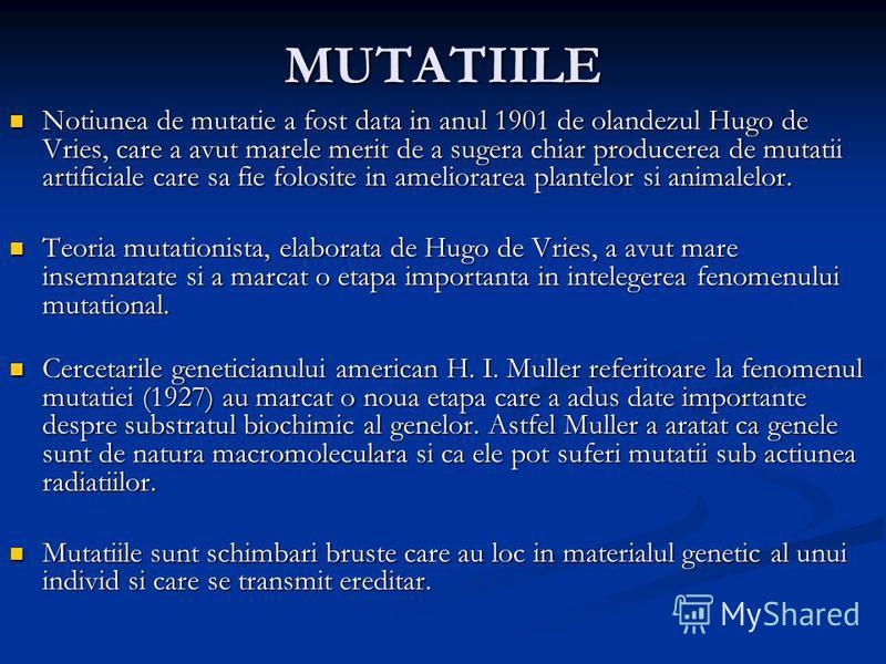 MUTATIILE Notiunea de mutatie a fost data in anul 1901 de olandezul Hugo de Vries, care a avut marele merit de a sugera chiar producerea de mutatii artificiale care sa fie folosite in ameliorarea plantelor si animalelor. Notiunea de mutatie a fost da
