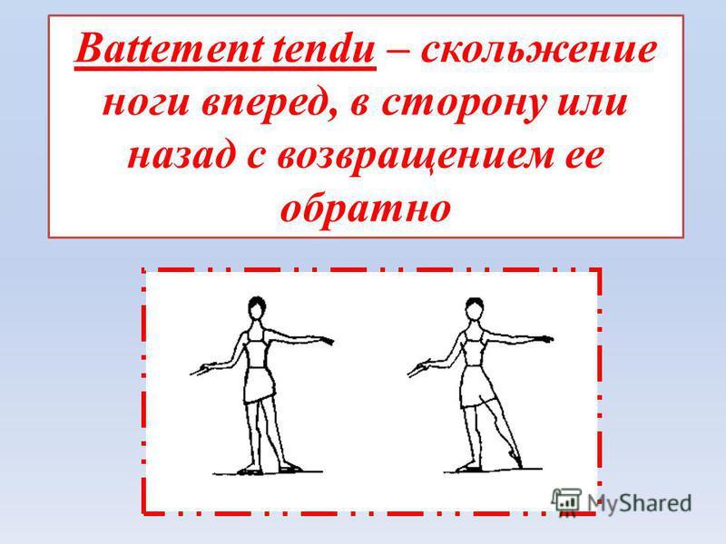 Battement tendu – скольжение ноги вперед, в сторону или назад с возвращением ее обратно