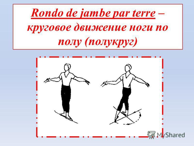 Rondo de jambe par terre – круговое движение ноги по полу (полукруг)