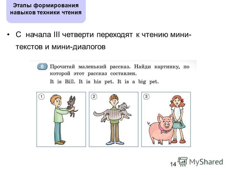 14 Этапы формирования навыков техники чтения С начала III четверти переходят к чтению мини- текстов и мини-диалогов