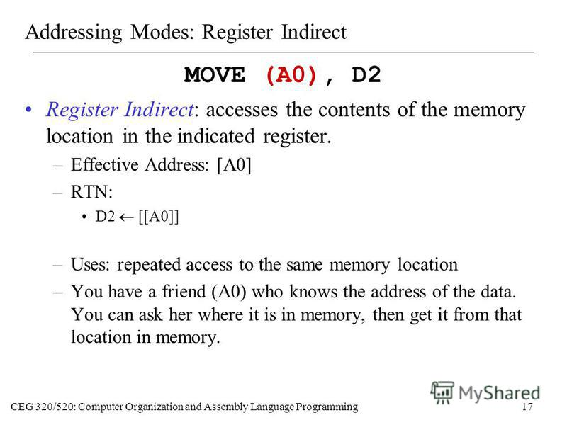 CEG 320/520: Computer Organization and Assembly Language Programming17 Addressing Modes: Register Indirect MOVE (A0), D2 Register Indirect: accesses the contents of the memory location in the indicated register. –Effective Address: [A0] –RTN: D2 [[A0