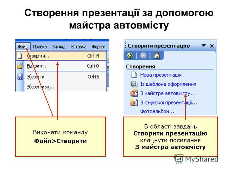 Створення презентації за допомогою майстра автовмісту Виконати команду Файл>Створити В області завдань Створити презентацію клацнути посилання З майстра автовмісту