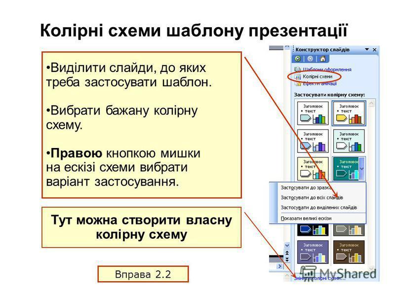 Колірні схеми шаблону презентації Виділити слайди, до яких треба застосувати шаблон. Вибрати бажану колірну схему. Правою кнопкою мишки на ескізі схеми вибрати варіант застосування. Тут можна створити власну колірну схему Вправа 2.2
