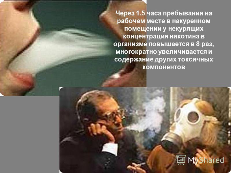 Через 1.5 часа пребывания на рабочем месте в накуренном помещении у некурящих концентрация никотина в организме повышается в 8 раз, многократно увеличивается и содержание других токсичных компонентов