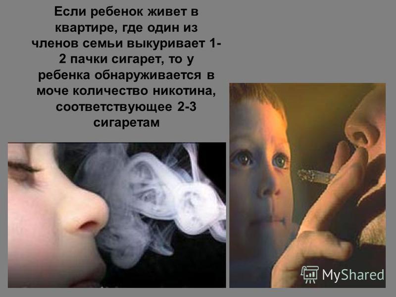 Если ребенок живет в квартире, где один из членов семьи выкуривает 1- 2 пачки сигарет, то у ребенка обнаруживается в моче количество никотина, соответствующее 2-3 сигаретам
