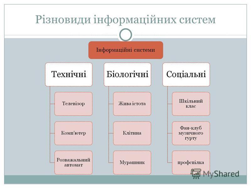 Різновиди інформаційних систем Інформаційні системи