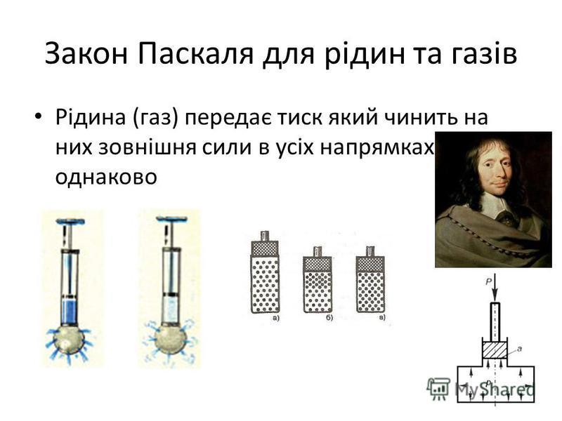 Закон Паскаля для рідин та газів Рідина (газ) передає тиск який чинить на них зовнішня сили в усіх напрямках однаково