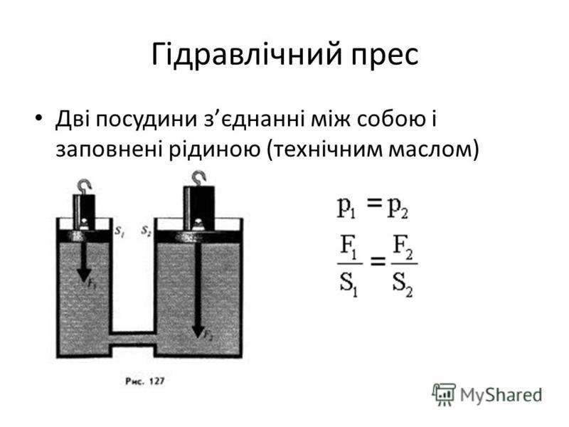 Гідравлічний прес Дві посудини зєднанні між собою і заповнені рідиною (технічним маслом)