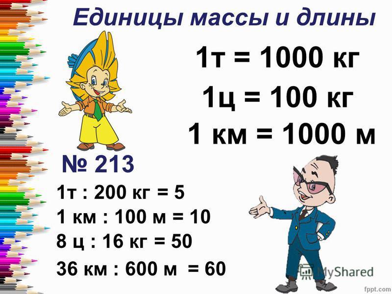 Единицы массы и длины 1 т = 1000 кг 1 ц = 100 кг 1 км = 1000 м 213 1 т : 200 кг 1 км : 100 м 8 ц : 16 кг 36 км : 600 м = 5 = 10 = 50 = 60