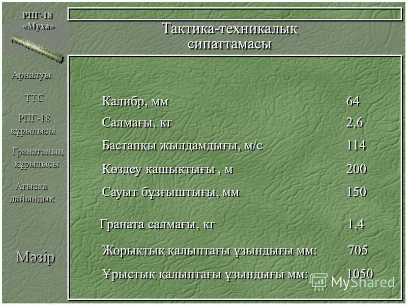 Мәзір РПГ-18 «Муха» РПГ-18 «Муха» Тактика-техникалық сипаттамасы Тактика-техникалық сипаттамасы Калибр, мм64 Калибр, мм64 Салмағы, кг2,6 Салмағы, кг2,6 Бастапқы жылдамдығы, м/с 114 Бастапқы жылдамдығы, м/с 114 Көздеу қашықтығы, м 200 Көздеу қашықтығы