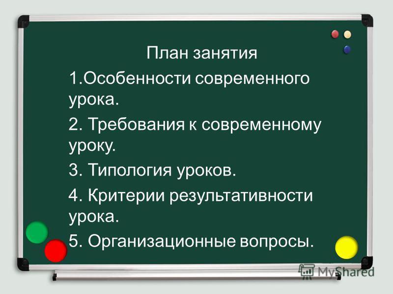 План занятия 1. Особенности современного урока. 2. Требования к современному уроку. 3. Типология уроков. 4. Критерии результативности урока. 5. Организационные вопросы.