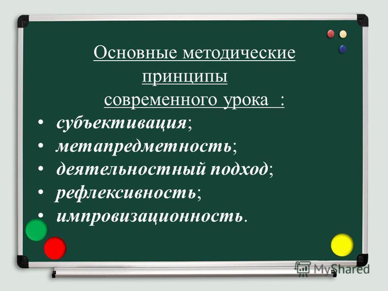 Основные методические принципы современного урока : субъективация; метапредметность; деятельностный подход; рефлексивность; импровизационность.
