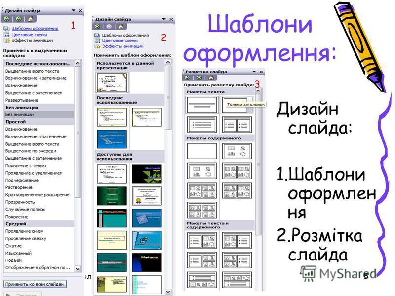 28 июля 2015 г.урок 45 Шаблони оформлення: Дизайн слайда: 1.Шаблони оформлен ня 2.Розмітка слайда 1 2 3