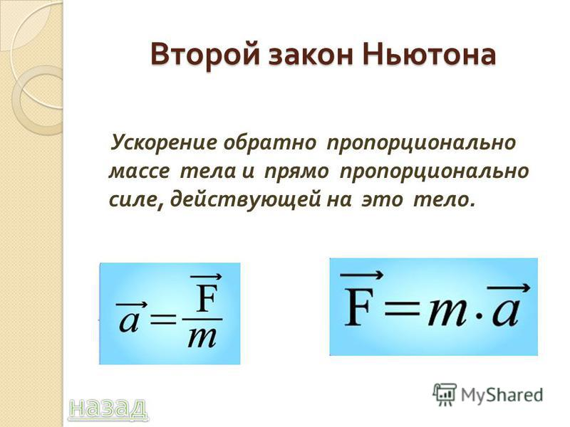 Второй закон Ньютона Ускорение обратно пропорционально массе тела и прямо пропорционально силе, действующей на это тело.