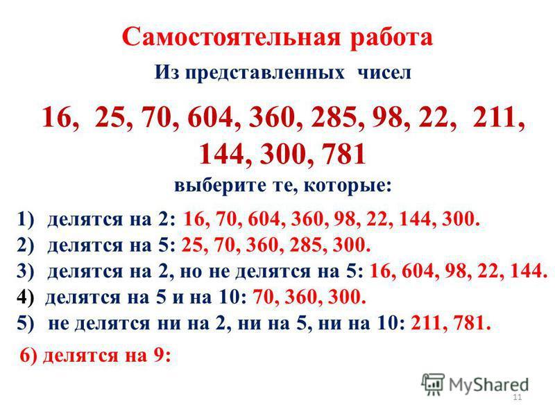 Из представленных чисел 16, 25, 70, 604, 360, 285, 98, 22, 211, 144, 300, 781 выберите те, которые: 1)делятся на 2: 16, 70, 604, 360, 98, 22, 144, 300. 2)делятся на 5: 25, 70, 360, 285, 300. 3)делятся на 2, но не делятся на 5: 16, 604, 98, 22, 144. 4