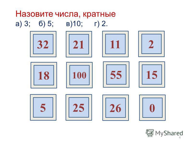32 21 11 2 18 100 5515 525 260 Назовите числа, кратные а) 3; б) 5; в)10; г) 2. 4
