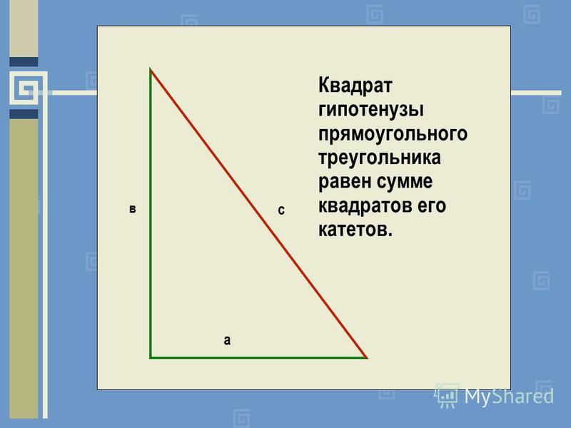 а в с Квадрат гипотенузы прямоугольного треугольника равен сумме квадратов его катетов.