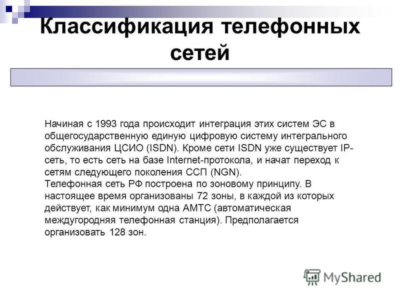 Классификация телефонных сетей Начиная с 1993 года происходит интеграция этих систем ЭС в общегосударственную единую цифровую систему интегрального обслуживания ЦСИО (ISDN). Кроме сети ISDN уже существует IP- сеть, то есть сеть на базе Internet-прото
