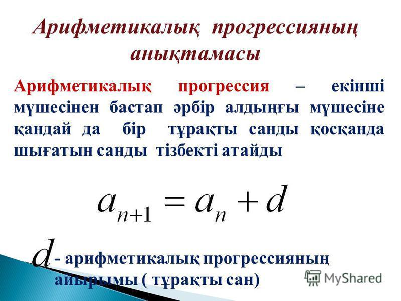 Арифметикалық прогрессия – е кінші мүшесінен бастап әрбір алдыңғы мүшесіне қандай да бір тұрақты санды қосқанда шығатын санды тізбекті атайды - арифметикалық прогрессияның айырымы ( тұрақты сан) Арифметикалық прогрессияның анықтамасы