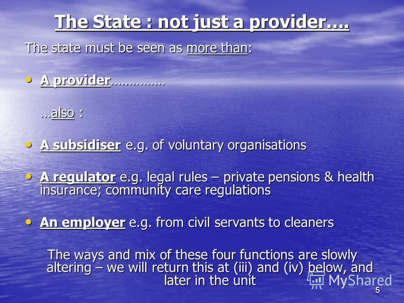5 The State : not just a provider…. The state must be seen as more than: A provider…………… A provider…………… …also : A subsidiser e.g. of voluntary organisations A subsidiser e.g. of voluntary organisations A regulator e.g. legal rules – private pensions
