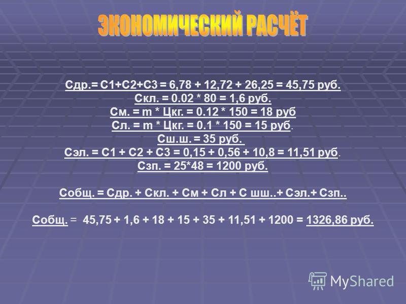 Сдр.= С1+С2+С3 = 6,78 + 12,72 + 26,25 = 45,75 руб. Скл. = 0.02 * 80 = 1,6 руб. См. = m * Цкг. = 0.12 * 150 = 18 руб Сл. = m * Цкг. = 0.1 * 150 = 15 руб. Сш.ш. = 35 руб. Сэл. = С1 + С2 + С3 = 0,15 + 0,56 + 10,8 = 11,51 руб. Сзп. = 25*48 = 1200 руб. Со