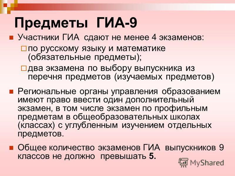 Предметы ГИА-9 Участники ГИА сдают не менее 4 экзаменов: по русскому языку и математике (обязательные предметы); два экзамена по выбору выпускника из перечня предметов (изучаемых предметов) Региональные органы управления образованием имеют право ввес