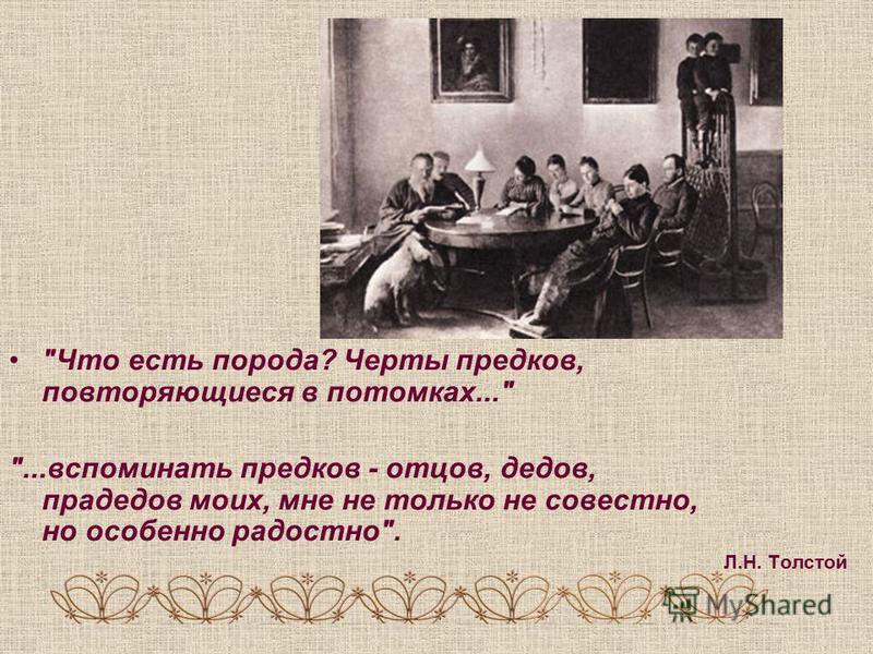 Что есть порода? Черты предков, повторяющиеся в потомках... ...вспоминать предков - отцов, дедов, прадедов моих, мне не только не совестно, но особенно радостно. Л.Н. Толстой