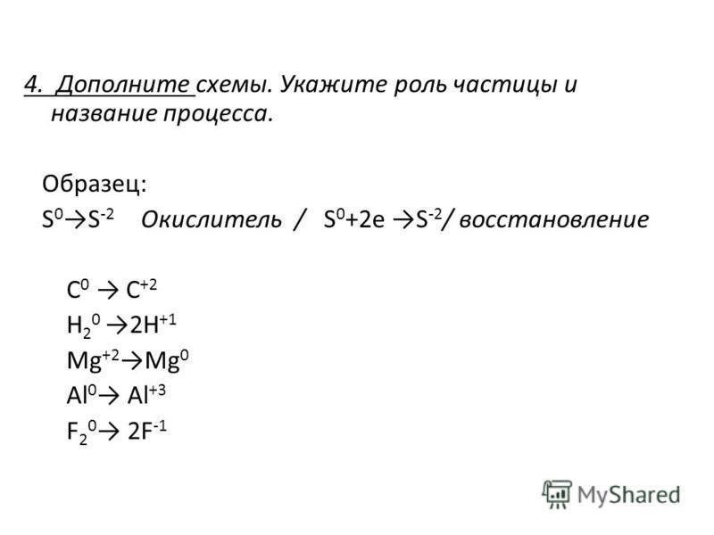 4. Дополните схемы. Укажите роль частицы и название процесса. Образец: S 0S -2 Окислитель / S 0 +2e S -2 / восстановление С 0 С +2 H 2 0 2H +1 Mg +2Mg 0 Al 0 Al +3 F 2 0 2F -1