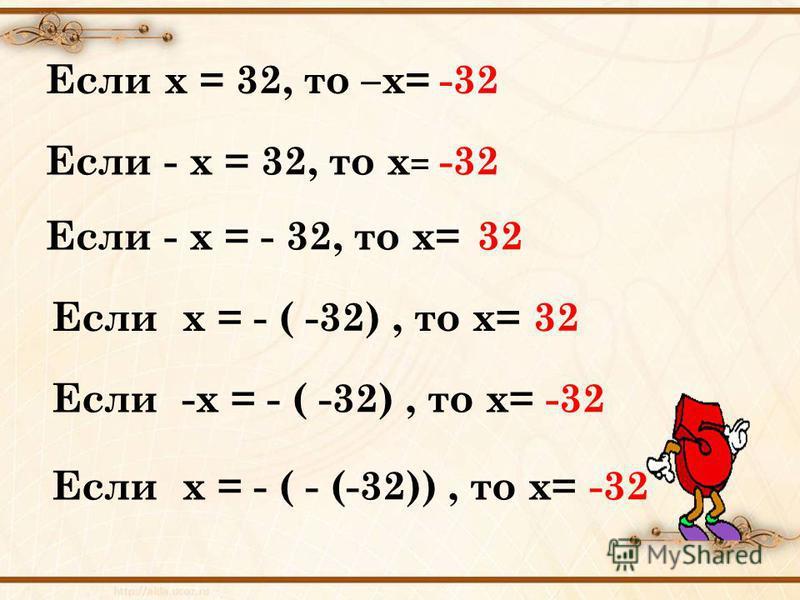 Если х = 32, то –х=-32 Если - х = 32, то х = -32 Если - х = - 32, то х=32 Если х = - ( -32), то х=32 Если -х = - ( -32), то х=-32 Если х = - ( - (-32)), то х=-32
