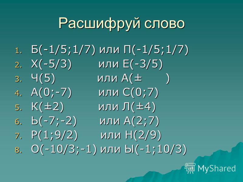Расшифруй слово 1. Б(-1/5;1/7) или П(-1/5;1/7) 2. Х(-5/3) или Е(-3/5) 3. Ч(5) или А(± ) 4. А(0;-7) или С(0;7) 5. К(±2) или Л(±4) 6. Ь(-7;-2) или А(2;7) 7. Р(1;9/2) или Н(2/9) 8. О(-10/3;-1) или Ы(-1;10/3)