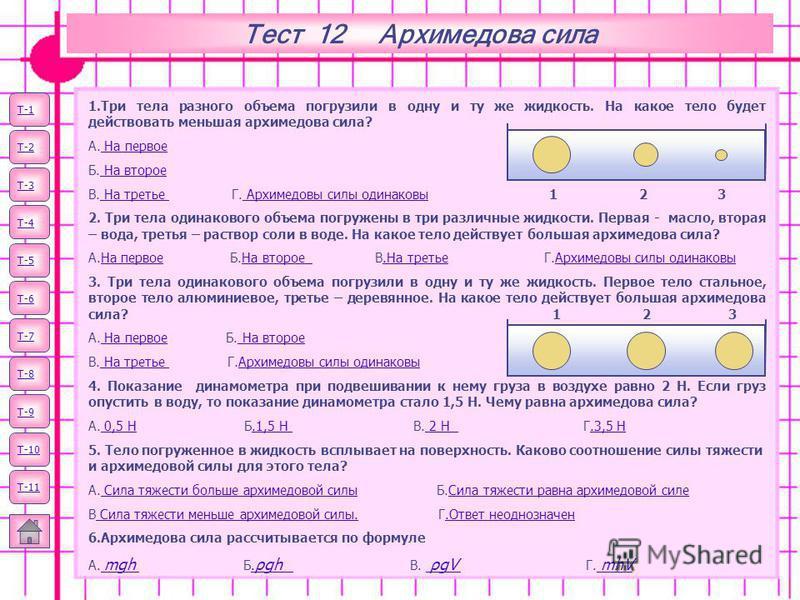 Тест 12 Архимедова сила Т-1 Т-2 Т-3 Т-4 Т-5 Т-6 Т-7 1. Три тела разного объема погрузили в одну и ту же жидкость. На какое тело будет действовать меньшая архимедова сила? А. На первое На первое Б. На второе На второе В. На третье Г. Архимедовы силы о