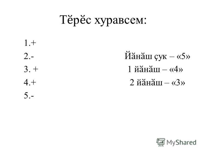Т ӗ р ӗ с хуравсем: 1.+ 2.- Й ӑ н ӑ ш çук – «5» 3. + 1 й ӑ н ӑ ш – «4» 4.+ 2 й ӑ н ӑ ш – «3» 5.-