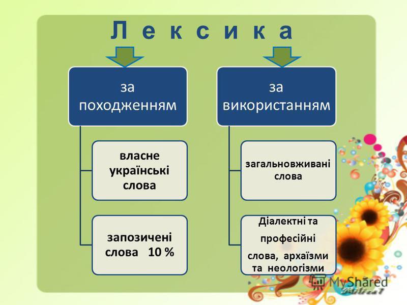 Л е к с и к а за походженням власне українські слова запозичені слова 10 % за використанням загальновживані слова Діалектні та професійні слова, архаїзми та неологізми