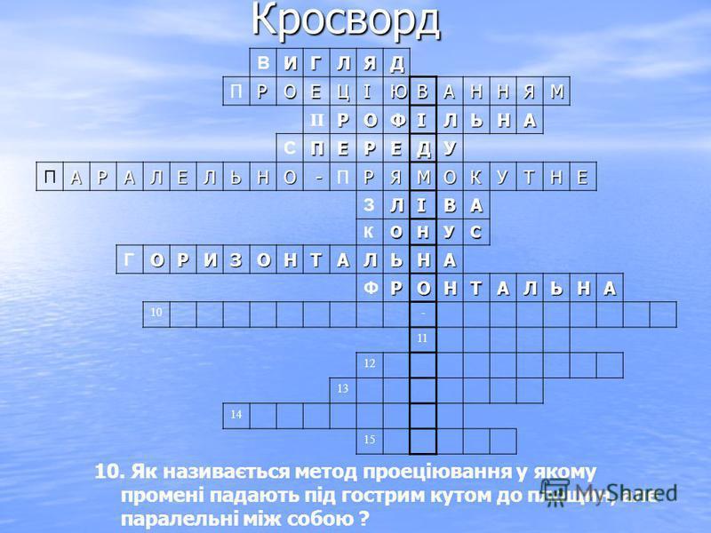 Кросворд ВИГЛЯД ПРОЕЦІЮВАННЯМ ПРОФІЛЬНА СПЕРЕДУ ПАРАЛЕЛЬНО -ПРЯМОКУТНЕ ЗЛІВА КОНУС ГОРИЗОНТАЛЬНА ФРОНТАЛЬНА 10- 11 12 13 14 15 10. Як називається метод проеціювання у якому промені падають під гострим кутом до площин, але паралельні між собою ?