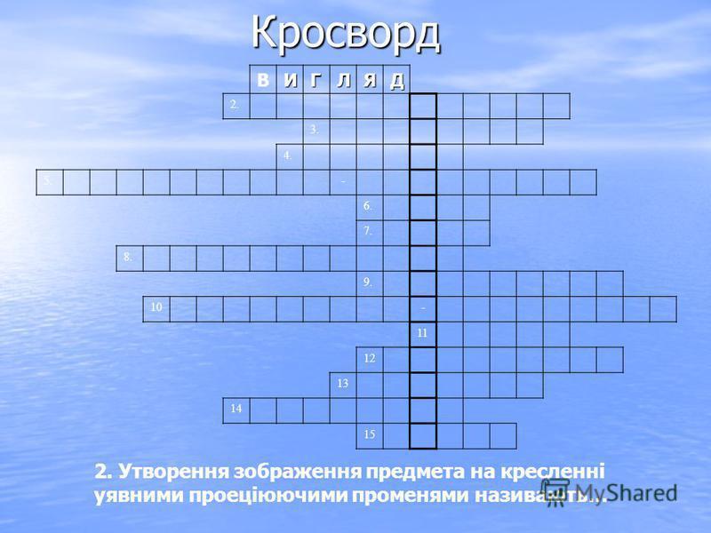 Кросворд ВИГЛЯД 2. 3. 4. 5.- 6. 7. 8. 9. 10- 11 12 13 14 15 2. Утворення зображення предмета на кресленні уявними проеціюючими променями називають…